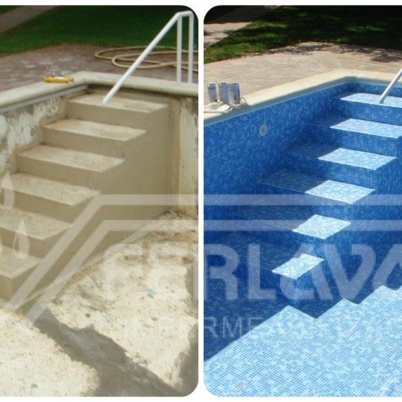 impermeabilización de piscina. Detalle